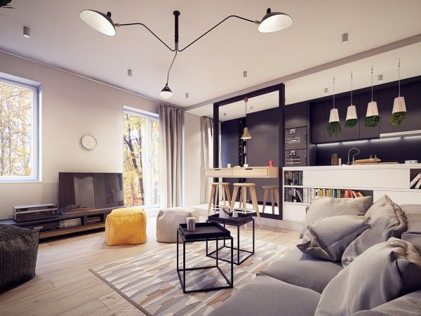 A 60s inspired apartment with a creative layout and upbeat vibe