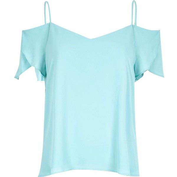 3d5fbc8ca72 River Island Light blue cold shoulder frilly sleeve top ($20) ❤ liked on  Polyvore featuring tops, shirts, river island, t-shirts, blue, sale, women,  ruffle ...