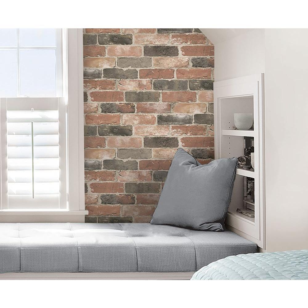 Nuwallpaper Newport Reclaimed Brick Peel And Stick Vinyl Strippable Wallpaper Covers 30 75 Sq Ft Nu2064 The Home Depot In 2021 Peel And Stick Wallpaper Reclaimed Brick Diy Home Decor Easy