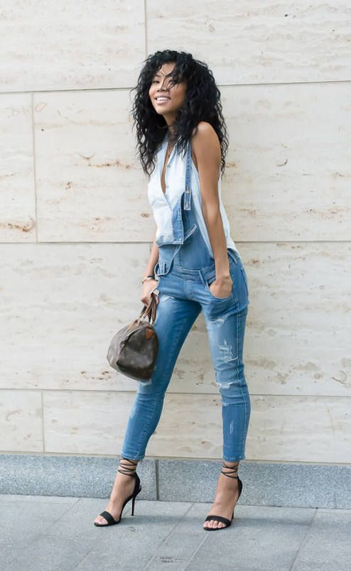 190dc6dac Blasiangurl Ripped Denim Dungaree Outfit Idea | Ensembles to Live ...