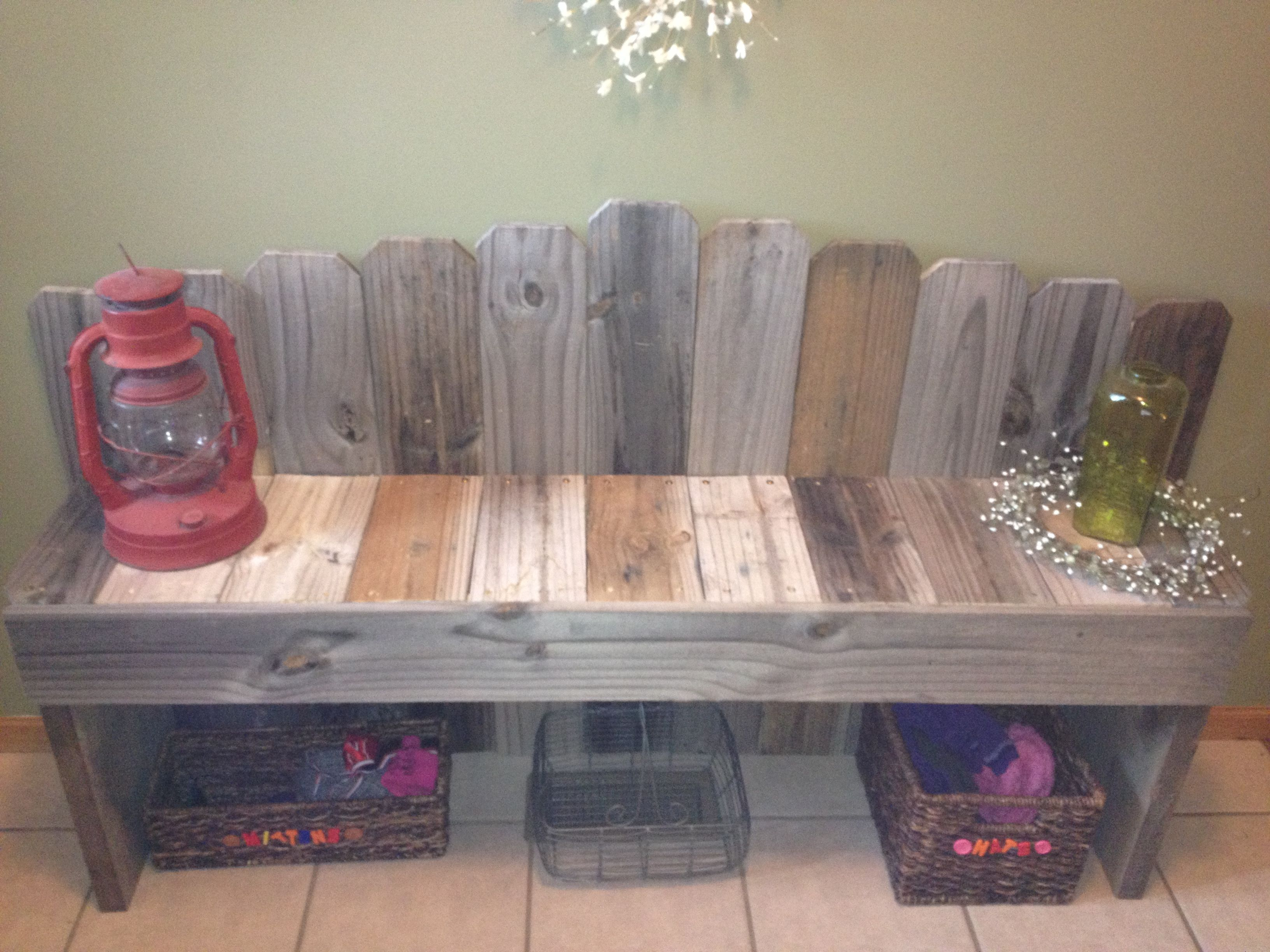 Bench Made From Recycled Fence Wood Wood Fence Wooden Fence