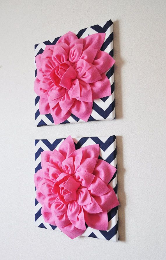 Wall Decor SET OF THREE Pink Dahlias on Navy and White by bedbuggs