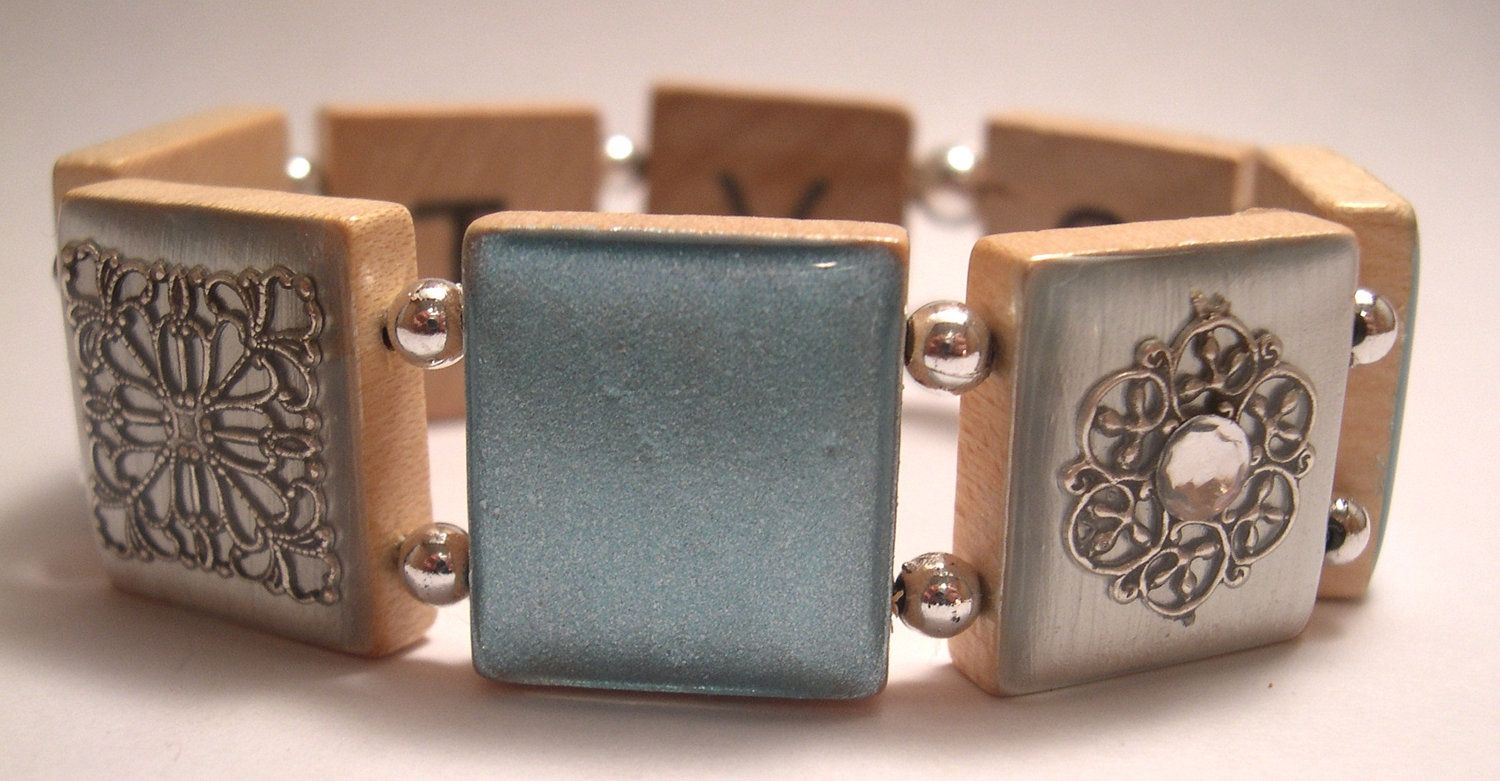 Serenity In Blue Scrabble Bracelet