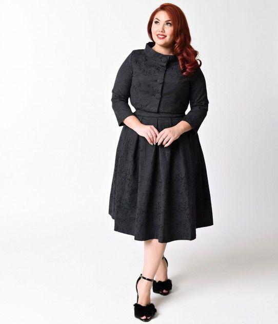 Lindy Bop Plus Size 1950s Black Jacquard Marianne Swing Dress ...