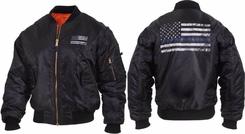Black Military Air Force MA-1 Bomber Coat Flight Jacket with Thin Blue Line  Flag 43a54443d62