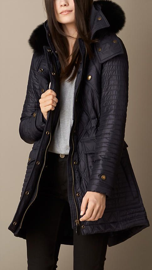 43446eaa2bf7 Burberry Fur Trim Multi-Quilt Parka on shopstyle.co.uk