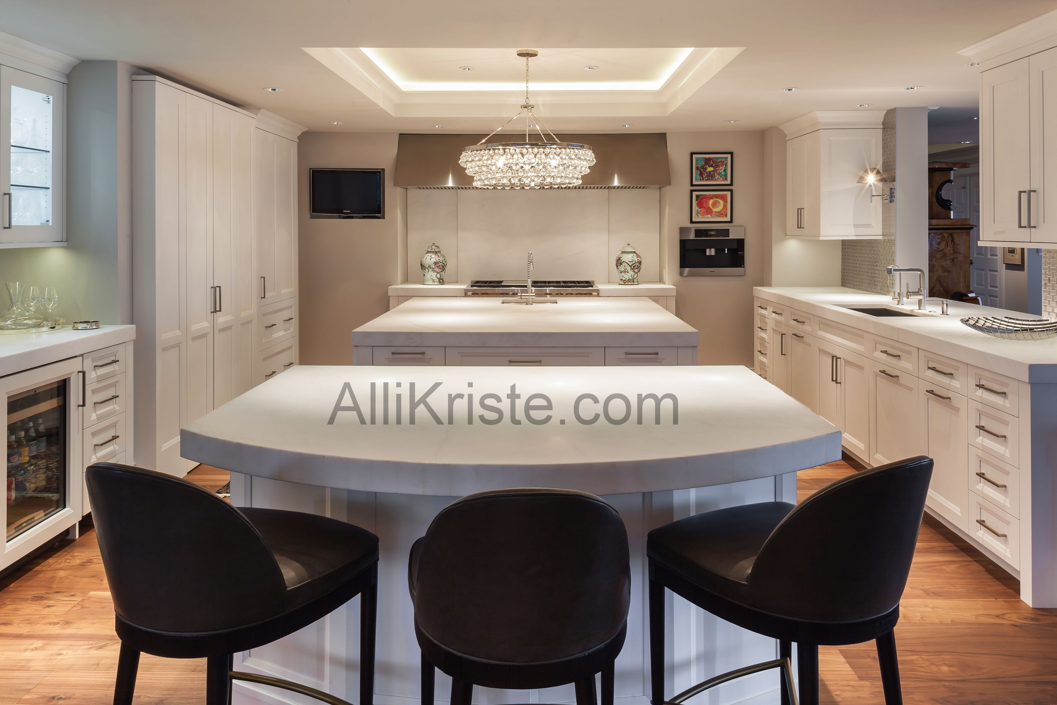 Love This Long And Lean Kitchen And The Custom Cabinetry Make That Gorgeous Chandelier Pop Custom Des Custom Kitchens Kitchen Remodel Contemporary Kitchen