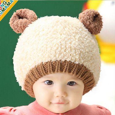 475839549 Winter Cap for Girl Boy; Lovely Baby Woolen Hat With Bear Ears Style;  Children Kids Warm Plush Caps