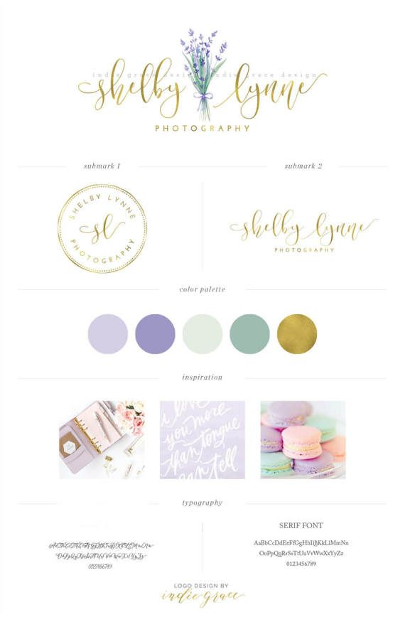 Watercolor Lavender Logo Design Premade Logo Floral Custom