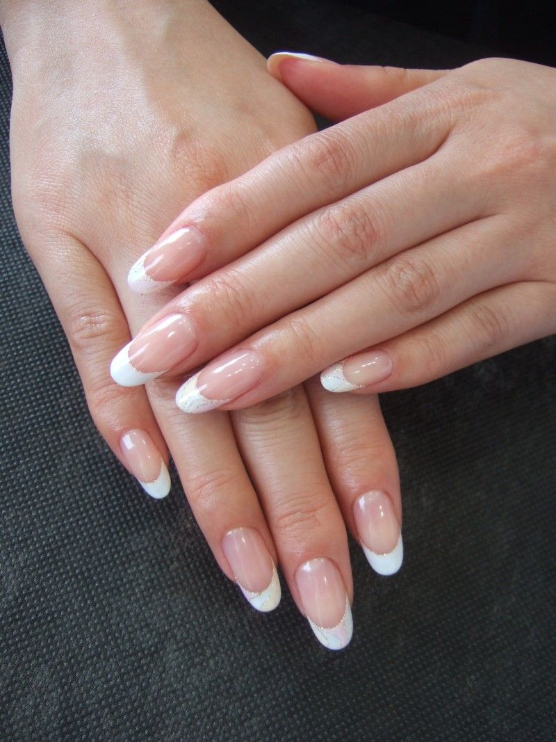simple french nail polished