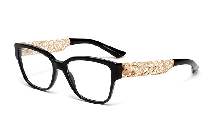 womens black acetate filigree glasses with squared frame by dolce gabbana dg 3186