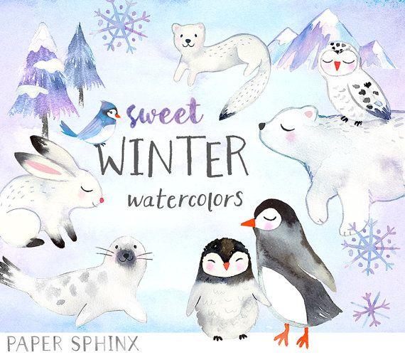 Watercolor Winter Animals Clipart Winter Watercolors Holiday Etsy In 2021 Winter Watercolor Watercolor Animals Animal Clipart