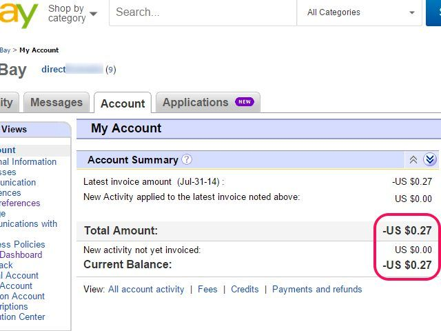 My Ebay Account Page With Account Balance Highlighted Ebay My Ebay Accounting