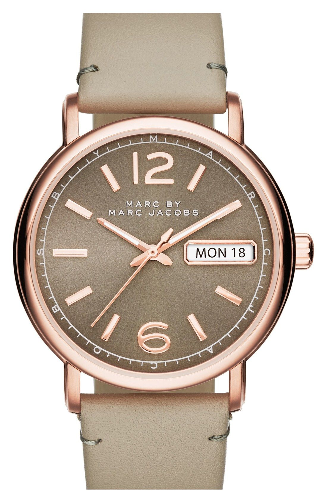 MARC BY MARC JACOBS 'Fergus' Leather Strap Watch, 38mm