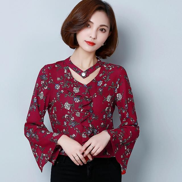 2018 Summer New Womenvintage Floral V-neck Lace Long Sleeve Shirt Blouses & Shirts