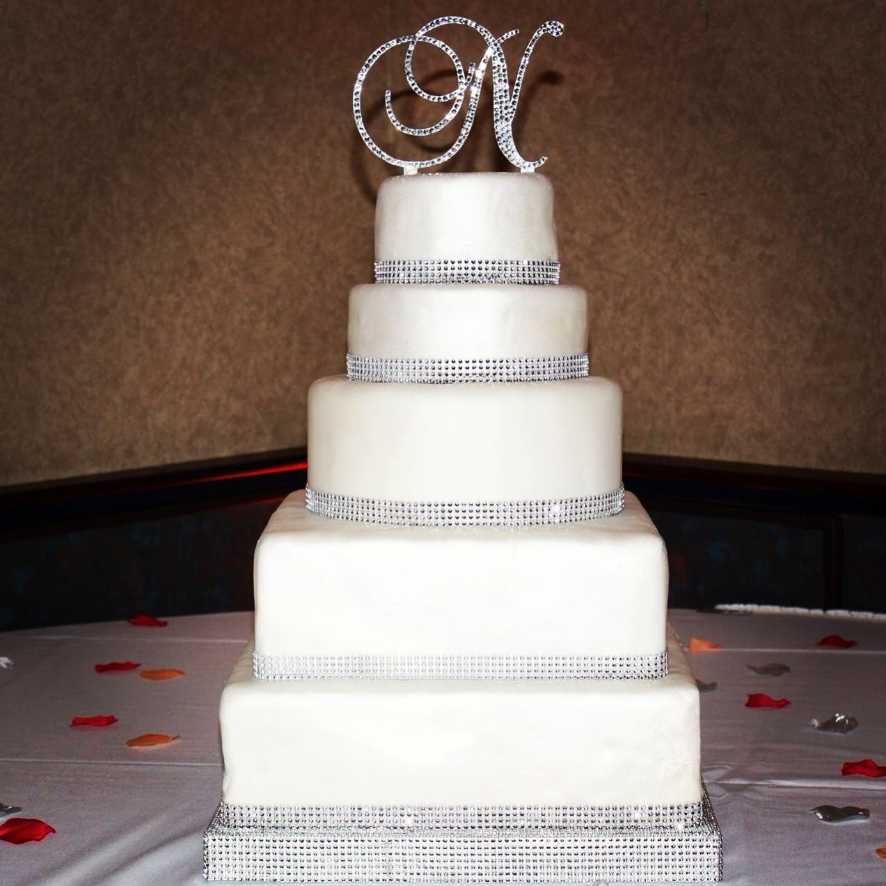 Everything You Need To Know About Wedding Cake: Bling / Rhinestone Wedding Cake! Monogram Cake Topper
