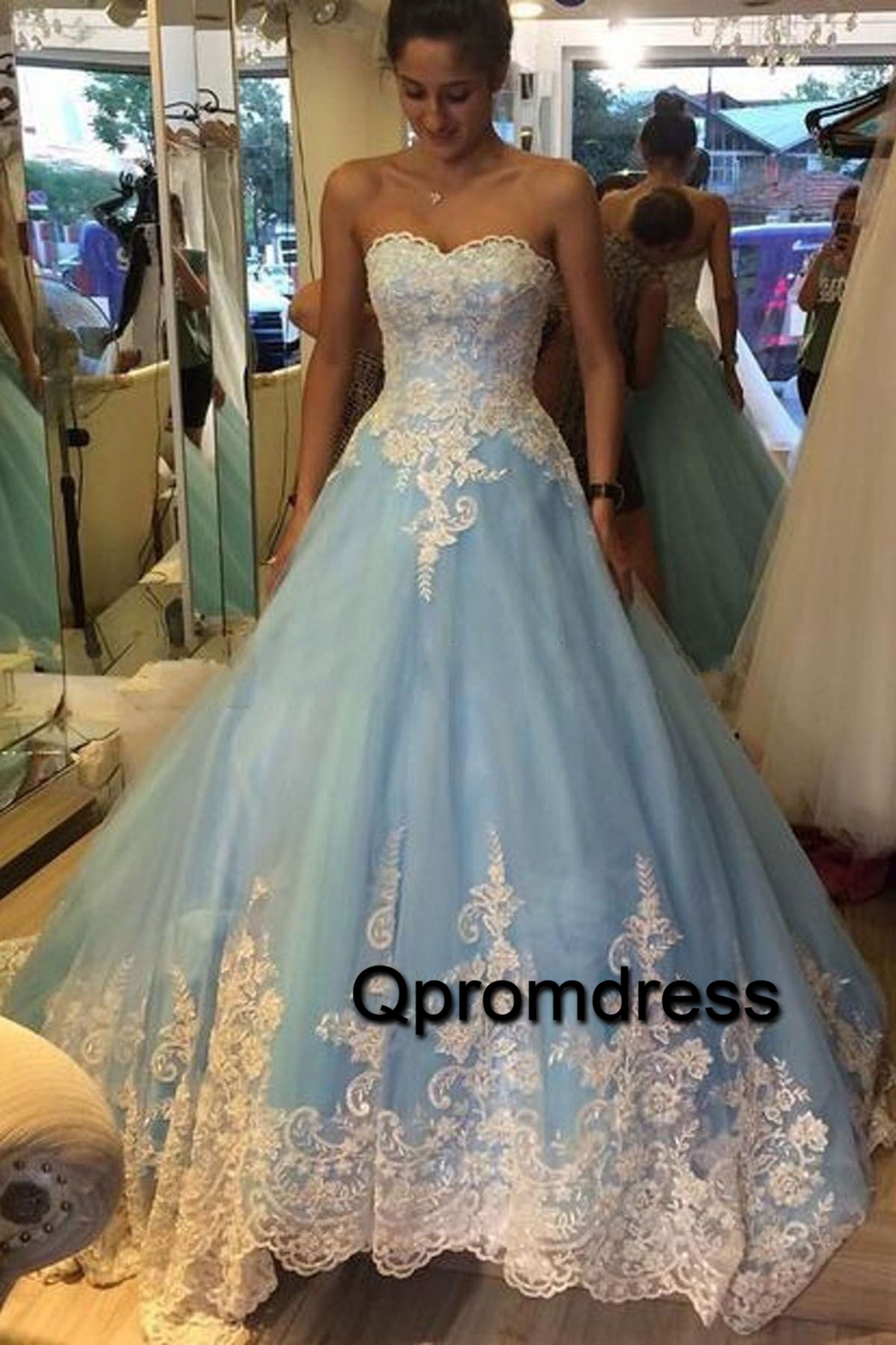 New design blue tulle swetheart long prom gown, short sleeves 3D ...