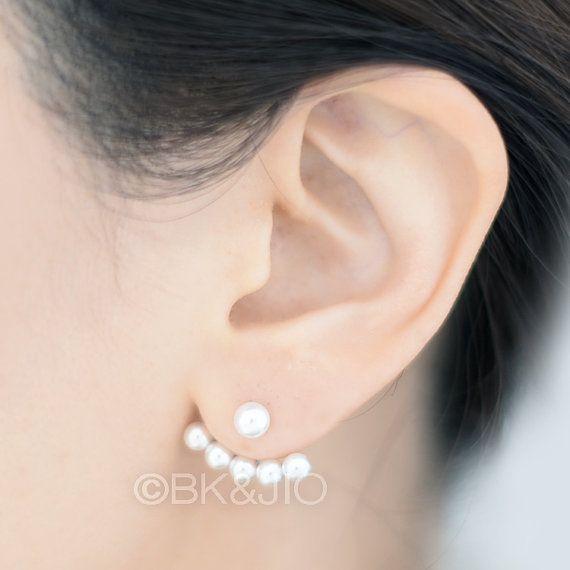 Sterling Silver Swarovski Pearls Ear Jacket Pearl Fan Earrings Front Back Studs Double Sided