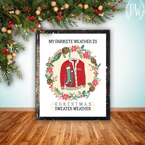 Christmas wall art printable ugly Christmas sweater party decor