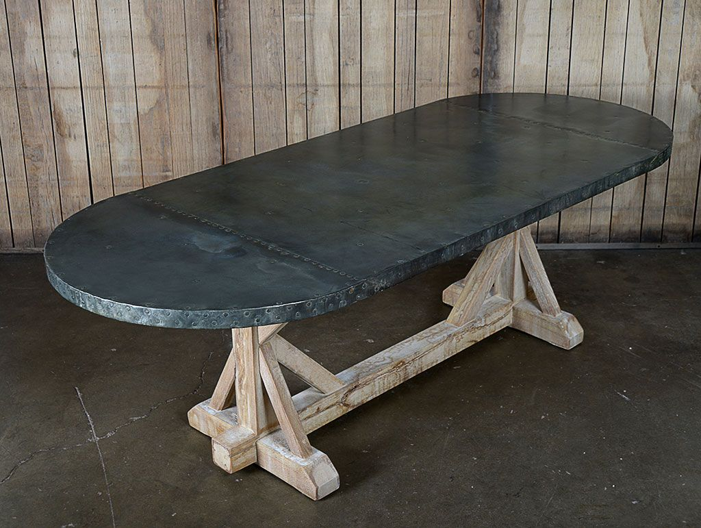 Zinc Top Oval Dining Table