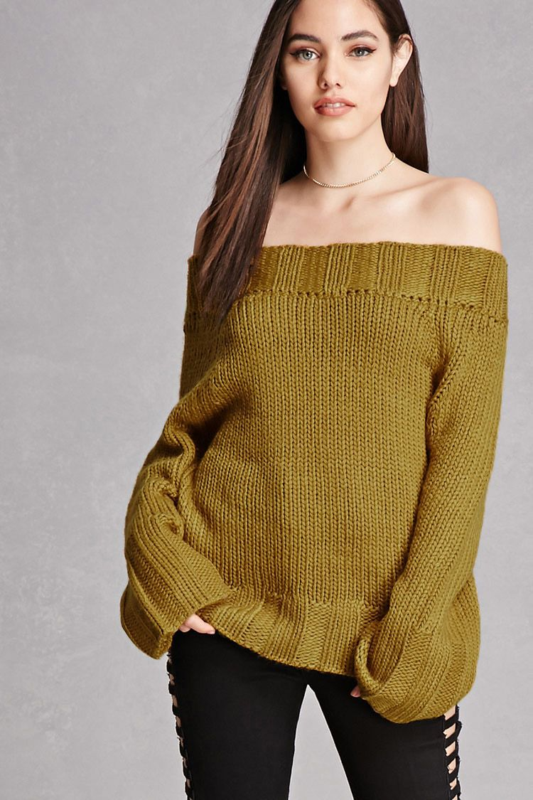 c9c774180a A midweight chunky ribbed knit sweater featuring an off-the-shoulder  neckline