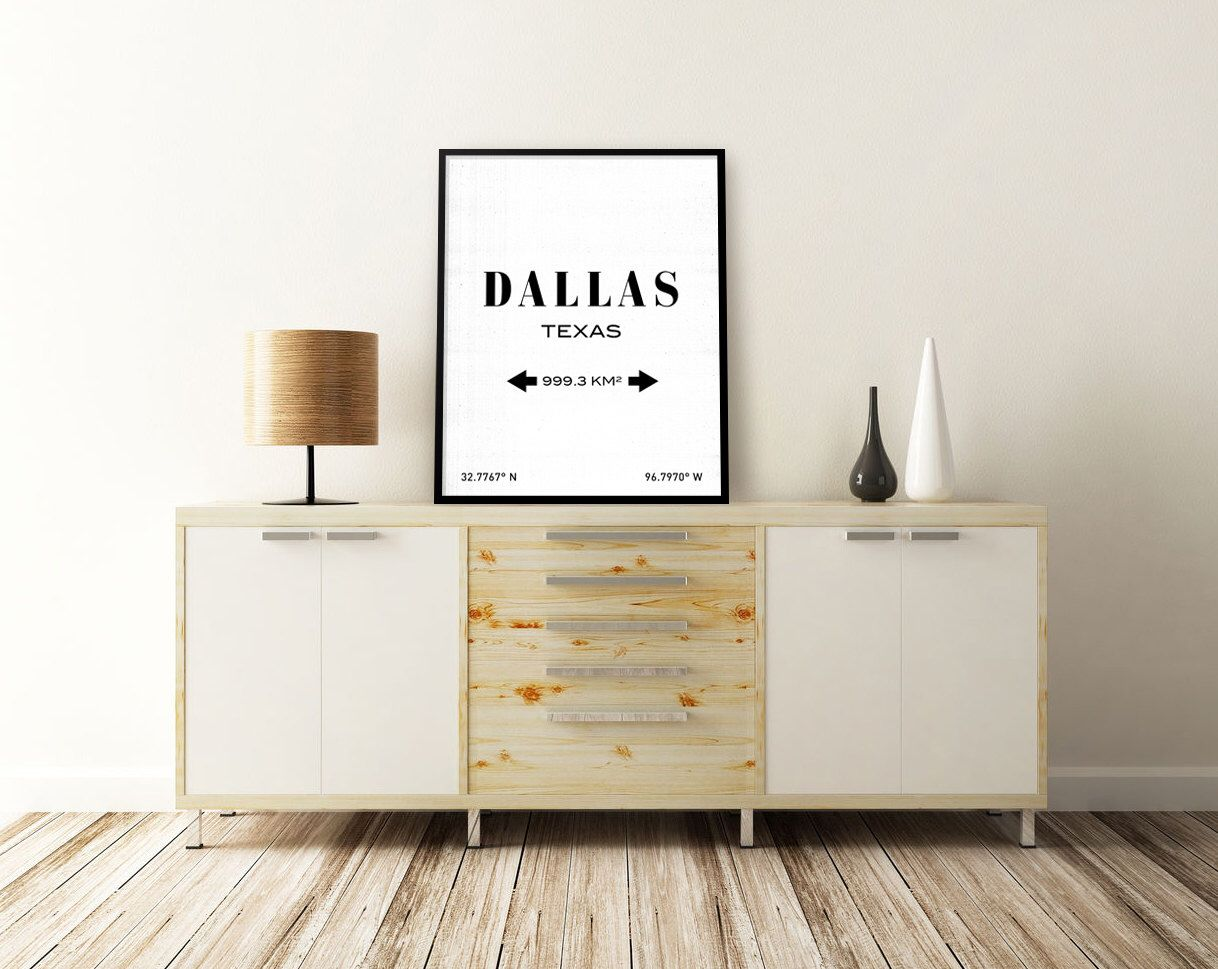 DALLAS PRINT. Dallas, Texas. Dallas Art. City Coordinates