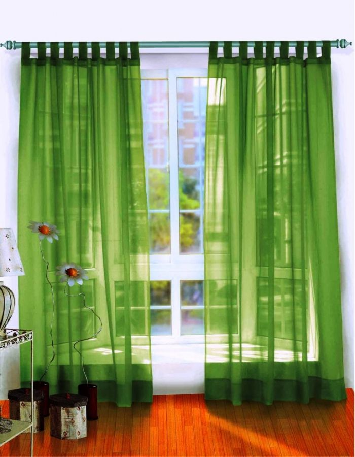 Cool Green Sheer Curtains In White Wooden Window With Laminated Floor