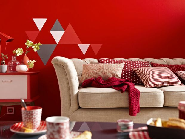 Couleur peinture salon rouge vif, gris et blanc Salons - deco salon rouge et blanc