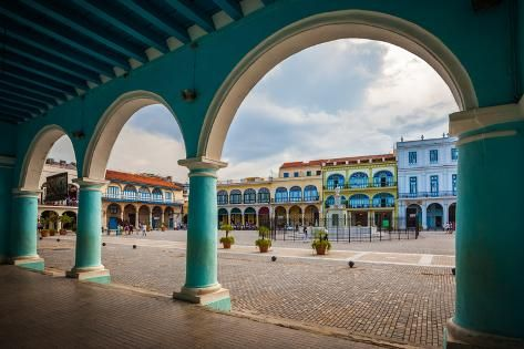 'The Old Square or Plaza Vieja from the Porch of the Fototeca De Cuba, Old Havana, Cuba.' Photographic Print - Maurizio De Mattei | Art.com