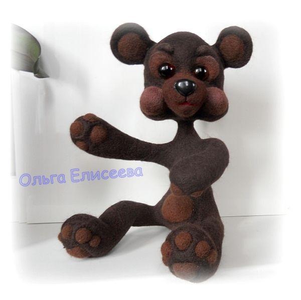 Шерстяной медвежонок Мишка на проволочном каркасе. Мастер-класс