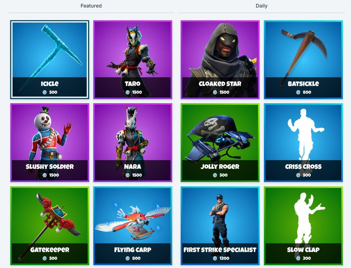 Fortnite Item Shop 9th January All Fortnite Skins and Cosmetics The