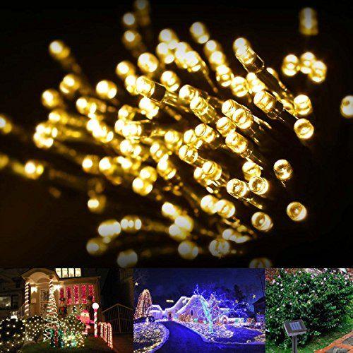 LE® Solar Fairy Lights, 55ft, Waterproof, 100 LEDs, 12 V, Warm