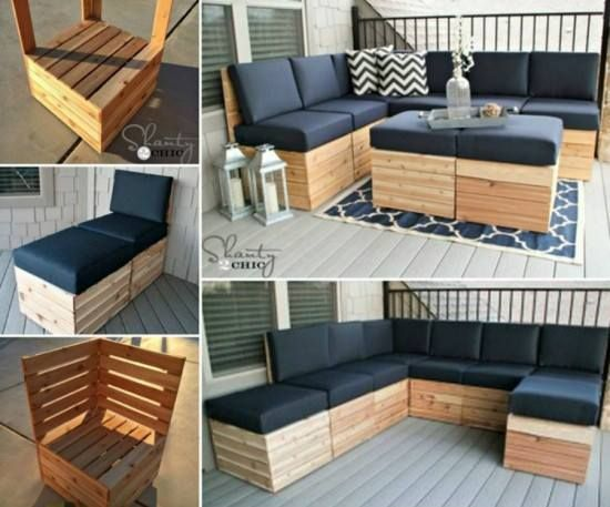 Diy pallet modular corner lounge diy do it yourself for Do it yourself couch