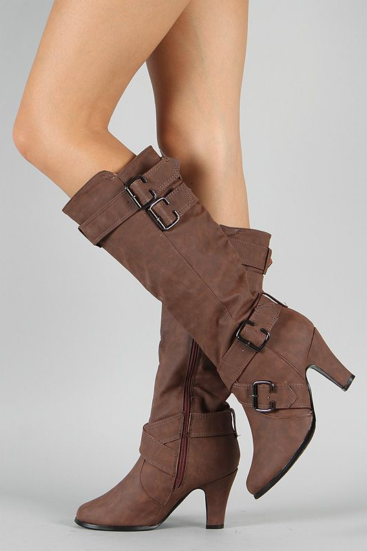 NB200-152 Round Toe Buckle Knee High Boot $32.50