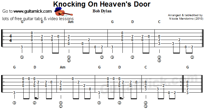 Knocking On Heavens Door Flatpicking Guitar Tab Music Theory