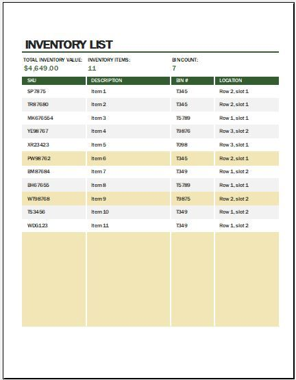 Inventory List Templates  Free Printable Word Excel  Pdf