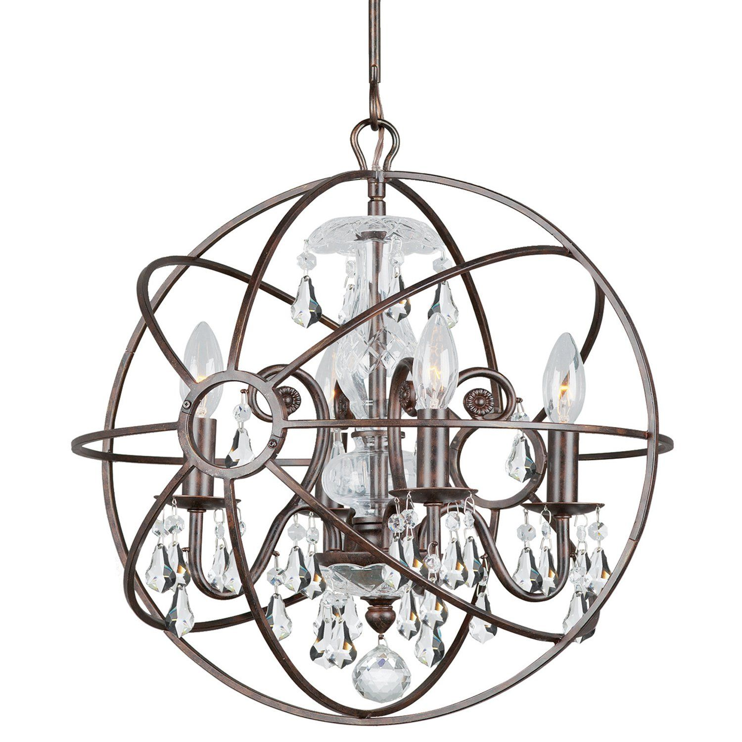 Crystorama 9025 eb cl mwp solaris chandelier with hand painted crystorama 9025 eb cl mwp solaris chandelier with hand painted wrought iron aloadofball Images