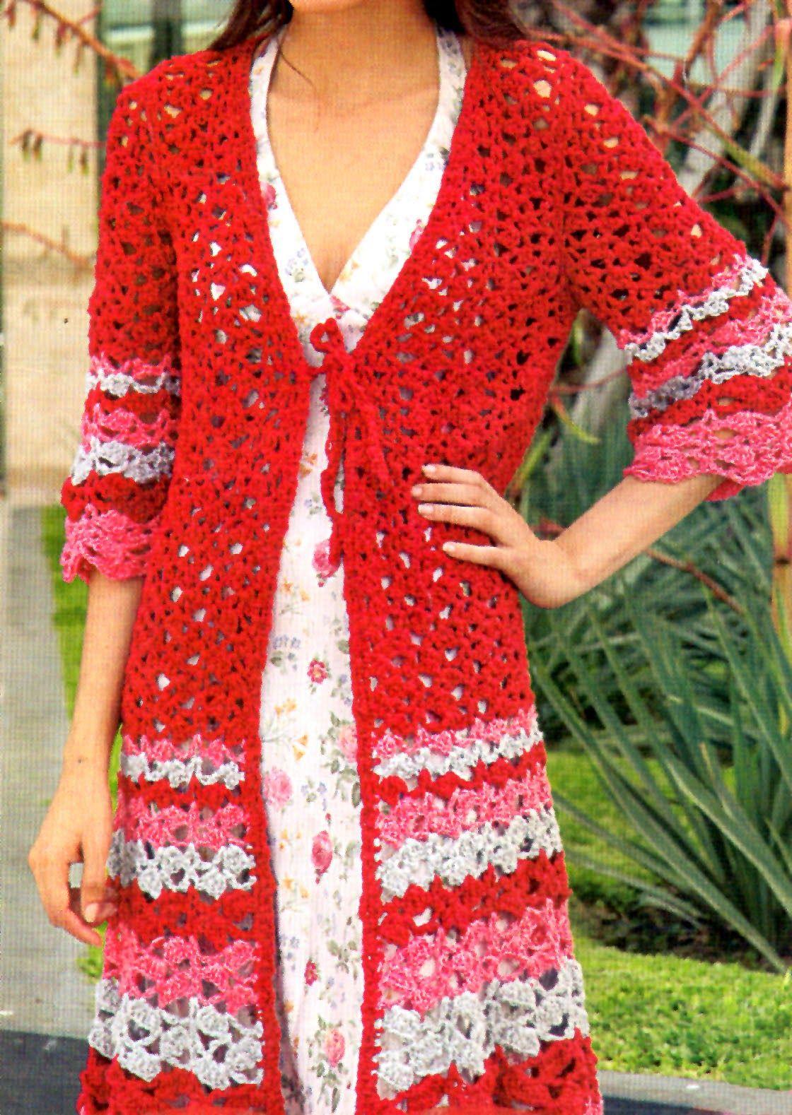 tejidos artesanales en crochet: chaleco largo con mangas tejido en ...