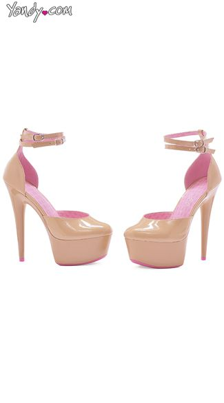 Nude Platform Sandals with Pink Lining,