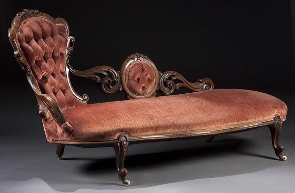 victorian chaise lounge. 1233: VICTORIAN WALNUT ROCOCO CARVED CHAISE LOUNGE : Lot 1233 Victorian Chaise Lounge S