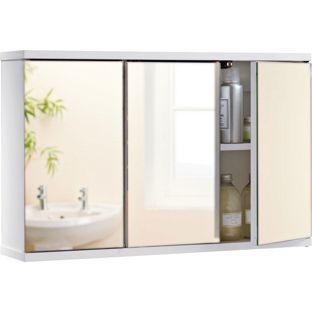 3 Door Mirror Cabinet - White - Homebase - £15.99 ...