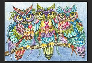 """""""Threes"""" - aceo, micron pen, tombow brush pens and star glitter pens on hot pressed watercolor paper"""