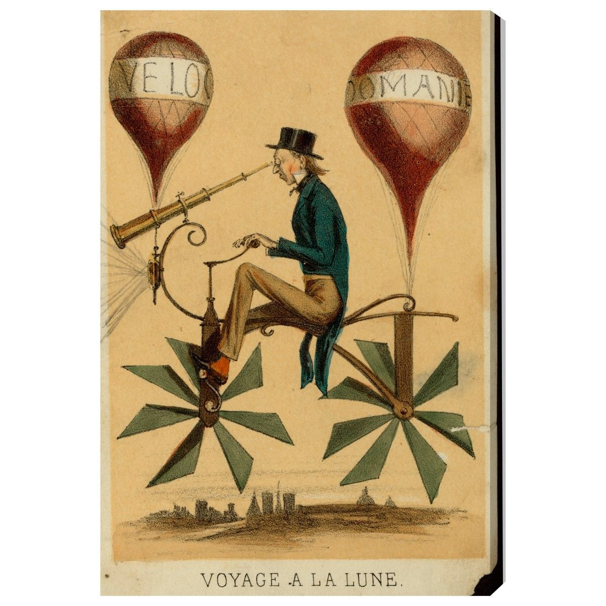 Hot Air Balloon Love. Wall Art. Voyage a La Lune 1867 by Olivia\'s ...