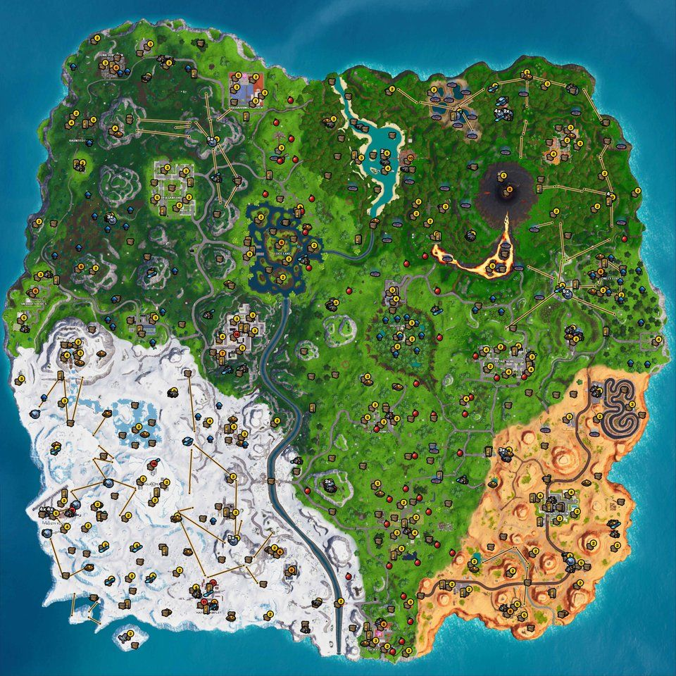 Interactive Fortnite map shows spawn locations for chests