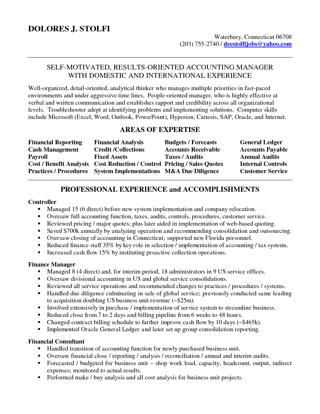 accounting manager resume | Accounting Manager in NYC Resume Delores ...