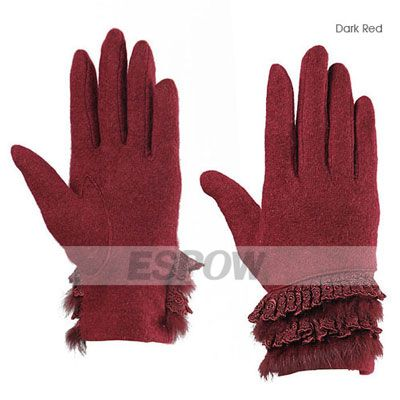 [US$19.99] Elegant Lace Rabbit Fur Fingertips Woolen Gloves for Ladies