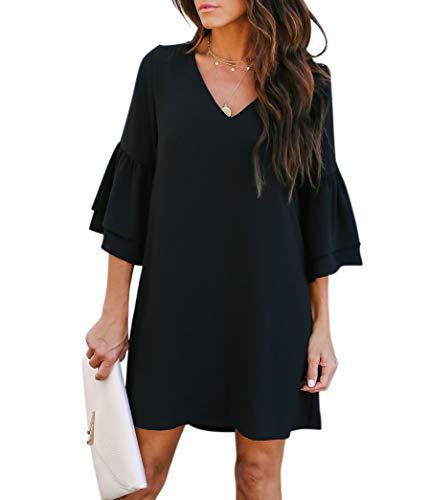 BELONGSCI Women's Dress Sweet & Cute V-Neck Bell Sleeve Shift Dress Mini Dress #blackdresscasual