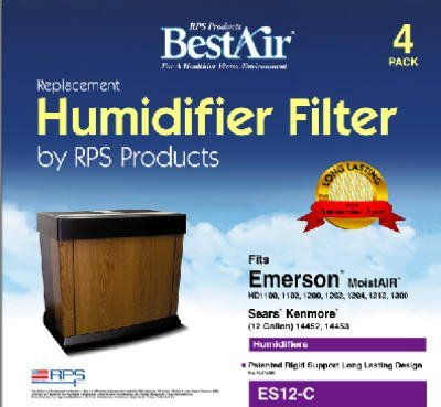 BestAir Extended Life Humidifier Filter For Emerson Humidifiers, ES12, 4 Pack
