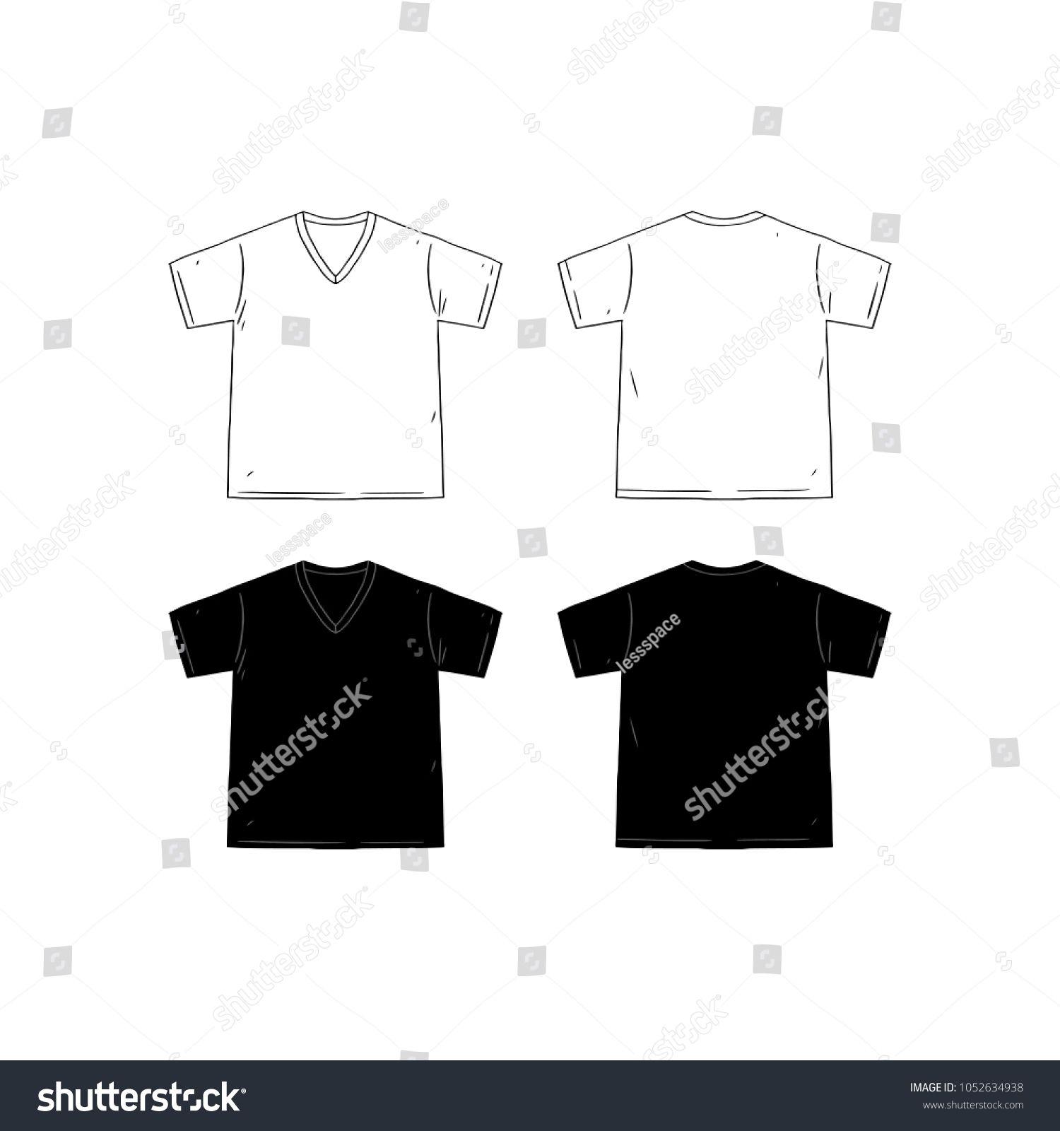 Set Blank Vneck Tshirt Design Template Stock Vector Royalty Within Blank V Neck T Shirt Template Best Sample T Shirt Template Tshirt Designs Design Template