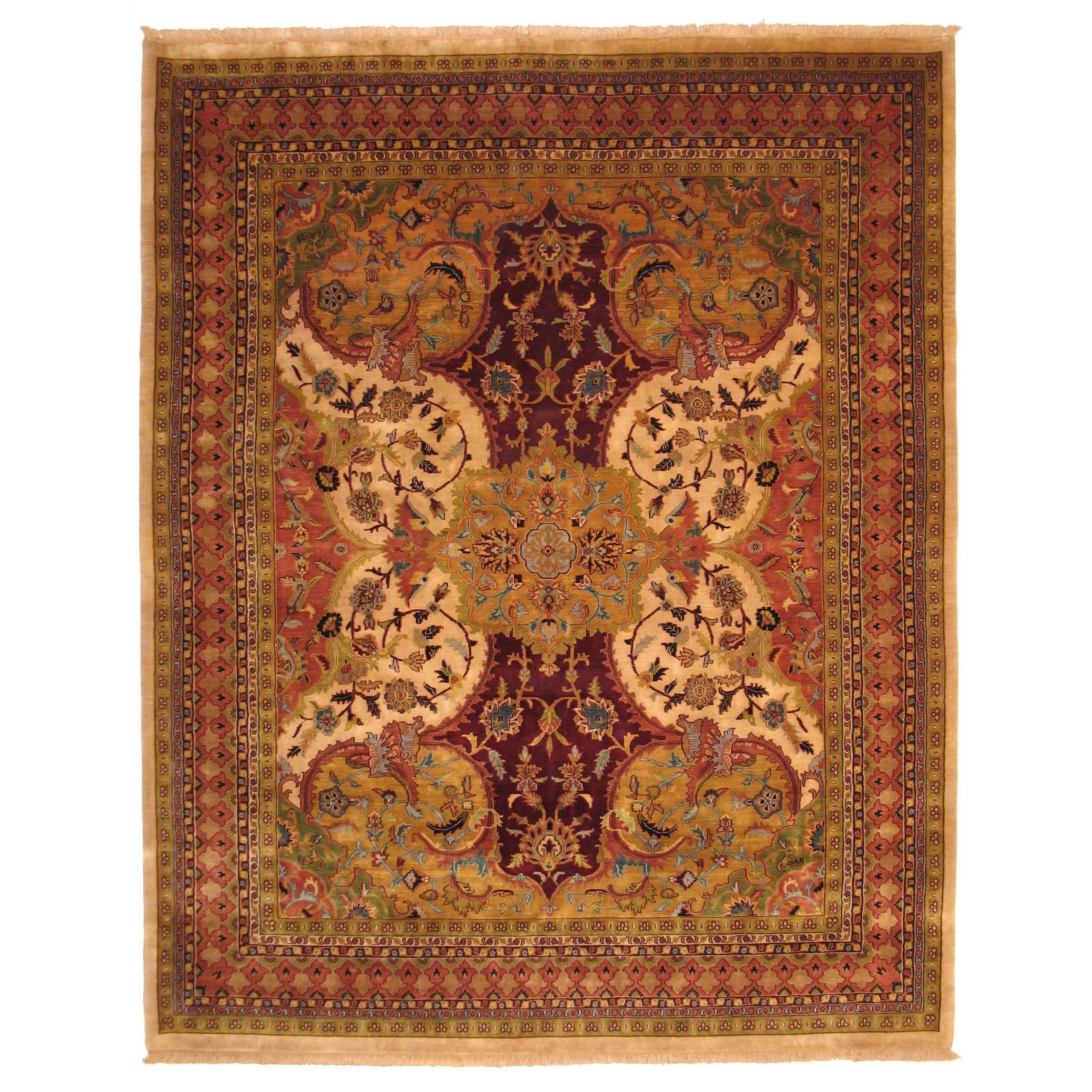 Hand Knotted Wool Ivory Transitional Oriental Polonaise Rug 10 X 14 10 X 14 Green Eorc Rugs Colorful Rugs Area Rugs